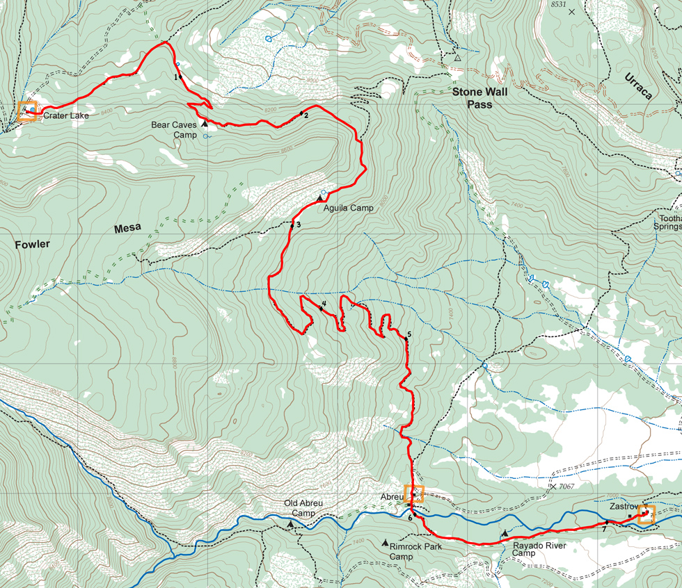 Crater Lake Topographic Map.Route From Crater Lake To Zastrow